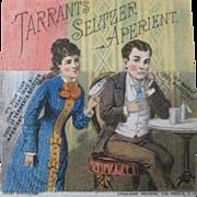 Original Tarrants Seltzer Aperient metamorphic trade card circa 1880's-90's