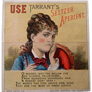 Original Tarrent's Seltzer Aperient metamorphic trade card circa 1880's-90's