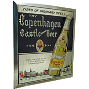 Copenhagen Castle Beer tin sign Edelbrew Brewery Brooklyn NY excellent condition 1950's