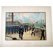 Original 1899 large chromolithograph Civil War-Sinking of the Alabama-June 1864