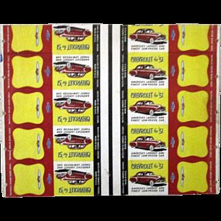 "Chevrolet for ""51"" uncut match book sheet excellent condition 1951"