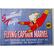 Flying Captain Marvel paper toy mint in original illustrated envelope 1944