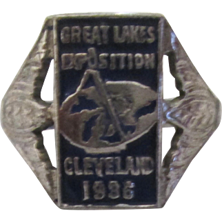 Cleveland Great Lakes Expo 1936 ART DECO marked sterling ring
