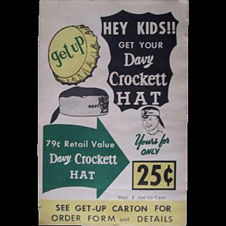 """Davy Crocket """"GET UP"""" soda paper advertising sign Davy Crockett hat 1950's"""
