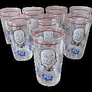 President Dwight Eisenhower political character glass set 1950's mint original box