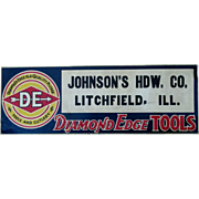 Vintage Diamond Edge Tools hardware store Litchfield Ill embossed tin litho sign