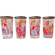 Disney's Cinderella set of 4 Sealtest Cottage Cheese glasses with tops 1950's