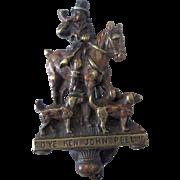 Figural cast brass door knocker John Peel Huntsman on horseback 1900's