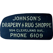 Folk Art Johnson's Drapery & Rug Shoppe painted wood sign 1920's-30's