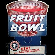 Fruit Bowl Soda bottle advertising topper 1940's
