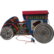 Gong Bell Ice Cream Bicycle toy paper litho over wood pull toy 1950's