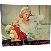 Grant's Stand Fast Blended Scotch Whiskey advertising sign 1930's