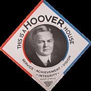 Herbert Hoover Women's Committee For Hoover cardboard window sign circa 1929