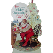 Christmas Coca Cola Santa Claus Free Holiday Decorations diecut sign 1960's