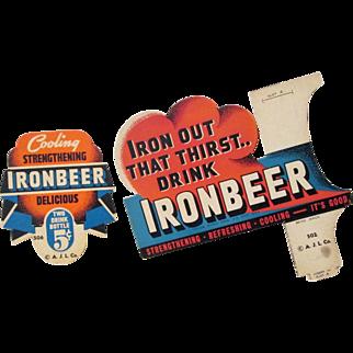IronBeer soda original cardboard lot includes bottle topper & sign circa 1930's