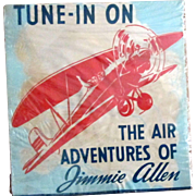 The Air Adventures of Jimmy Allen scarce promotional banner mid 1930's