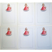 Rose O'Neill Kewpie's lot of 6 Ice Cream menu sheets unused 1930's near mint