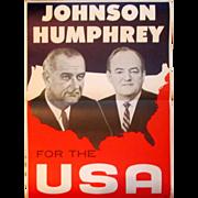 Lyndon Johnson Hubert Humphrey Presidential paper poster 1964 campaign