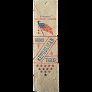 Lincoln Garfield Grant Union Republican Ticket 1888 campaign silk ribbon