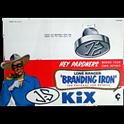 "Lone Ranger POP ""Branding Iron"" Kix cereal unpunched diecut counter sign-mint"