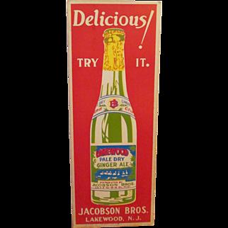 Lakewood Pale Dry Ginger Ale original soda cardboard sign circa 1930's