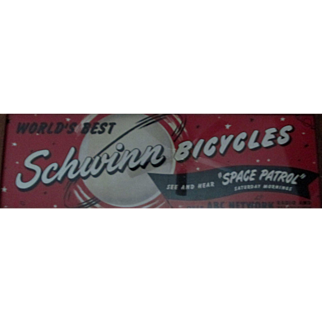 Space Patrol Schwinn Bicycles large advertising framed poster circa 1952