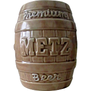Metz Brewery Company ceramic bank McCoy Pottery circa 1950's