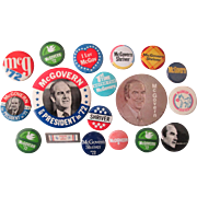 George McGovern lot of 18 different pins 1972 near mint condition