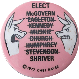 "McGovern Shriver Elect Who president campaign 2 1/4"" mint pin"