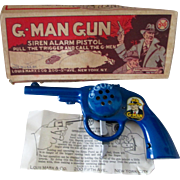 Marx scarce toy G-Man Siren near mint gun with box and instructions 1930's