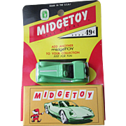 Diecast early Midgetoy MG sports car with carded box near mint circa 1950's-60's
