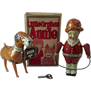 Marx Toys Orphan Annie and Sandy set working near mint condition 1930's
