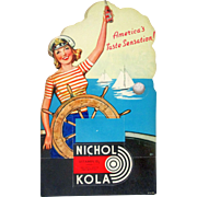 Nichol Kola Diecut Folding Cardboard Counter Display Sign 1940's-1950's