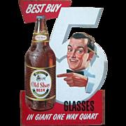 Old Shay Beer scarce diecut cardboard store display sign 1940's-50's