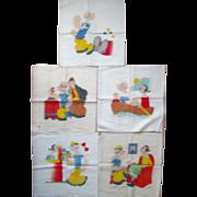 "Scarce ""Popeye The Sailor"" set of 5 Vogart pillow covers near mint 1929-1937"