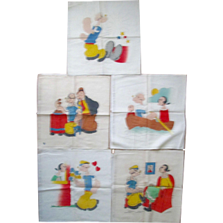 "Scarce ""Popeye The Sailor"" set of 5 Vogart pillow covers near mint 1929-1937"