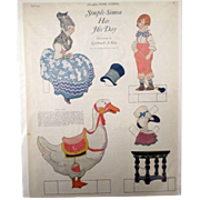 Ladies Home Journal Simple Simon Nursery Rhyme paperdoll magazine page 1923