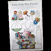 Womens Home Companion Little Folks Friends paperdoll uncut magazine page 1918