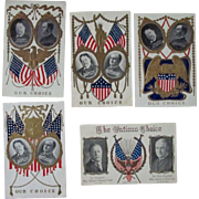 "Presidential ""Our Choice"" campaign set 5 different Taft/Sherman postcards 1908"