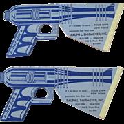 Vintage 1950's cardboard Space Pop gun lot of 2 advertising toy near mint