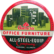 Advertising pocket mirror paperweight Aurora's Office Furniture 1940's-50's
