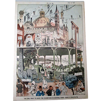 Puck magazine 1883 Exposition Central Park New York full color page 12-1-1880