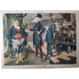 Puck magazine Cold Cheek Congressional Races full color page 4-25-1883