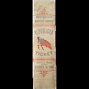 1888 Benjamin Harrison Levi Morton Republican Ticket silk ribbon