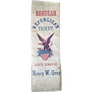 Henry W Gray State Senator Pennsylvania Republican Ticket 1872 silk ribbon