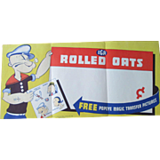 Popeye IGA Rolled Oats unused store paper sign unused near mint 1935