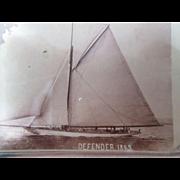 Sailboat sloop Defender souvenir paperweight 1900's