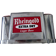 Rheingold Extra Dry Lager Beer Chrome stirrer napkin holder near mint condition 1950's-60's