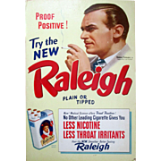 Raleigh Cigarettes Douglas Fairbanks Jr actor advertising sign 1930-40's