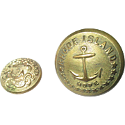 Political Historical Rhode Island State Seal uniform buttons Albert R58 & RI10A